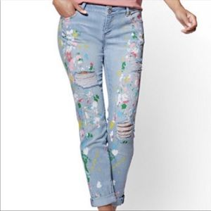 NY&Company Paint Splatter Boyfriend Jeans